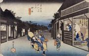 歌川広重(初代)《東海道五拾三次之内 御油・旅人留女》
