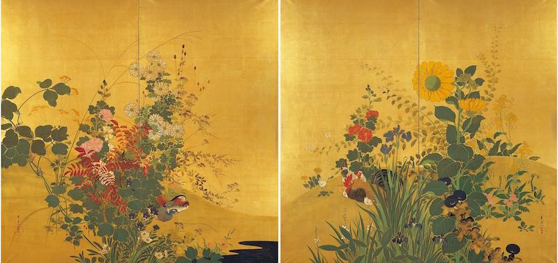 鈴木其一 《四季花鳥図》